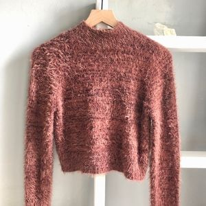 Express Fuzzy Long Sleeve Crop Sweater Size Small